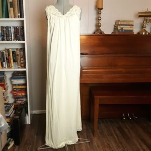 Vintage yellow satin lace nightgown